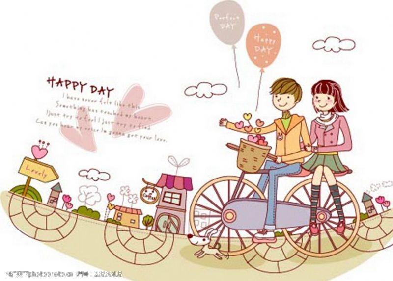 卡通情侶騎自行車
