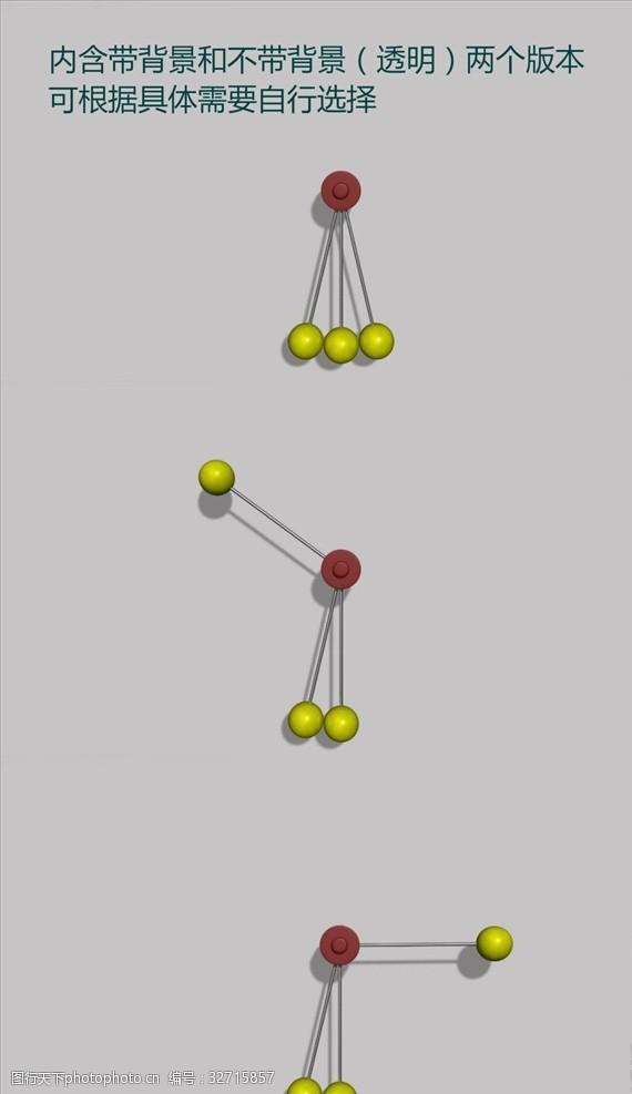 创意三个转动小球碰撞视频素材
