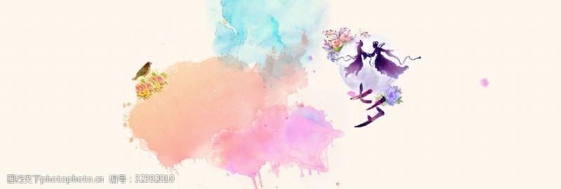 水彩暈染復古傳統七夕海報背景