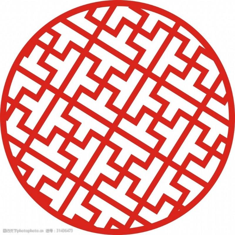 圆形回形纹镂空图