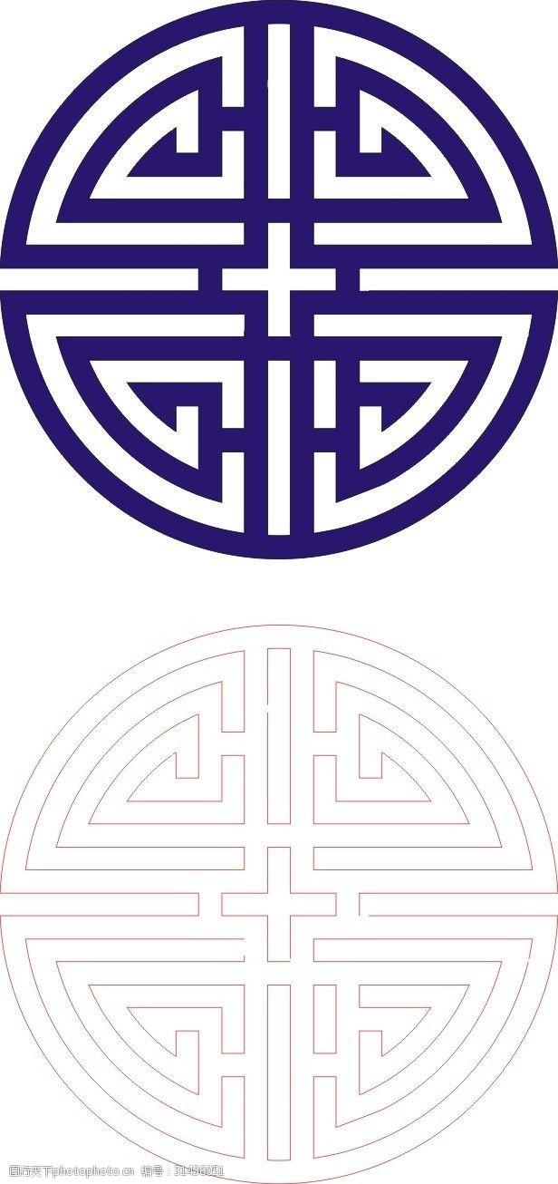 中式回形纹木雕镂空图