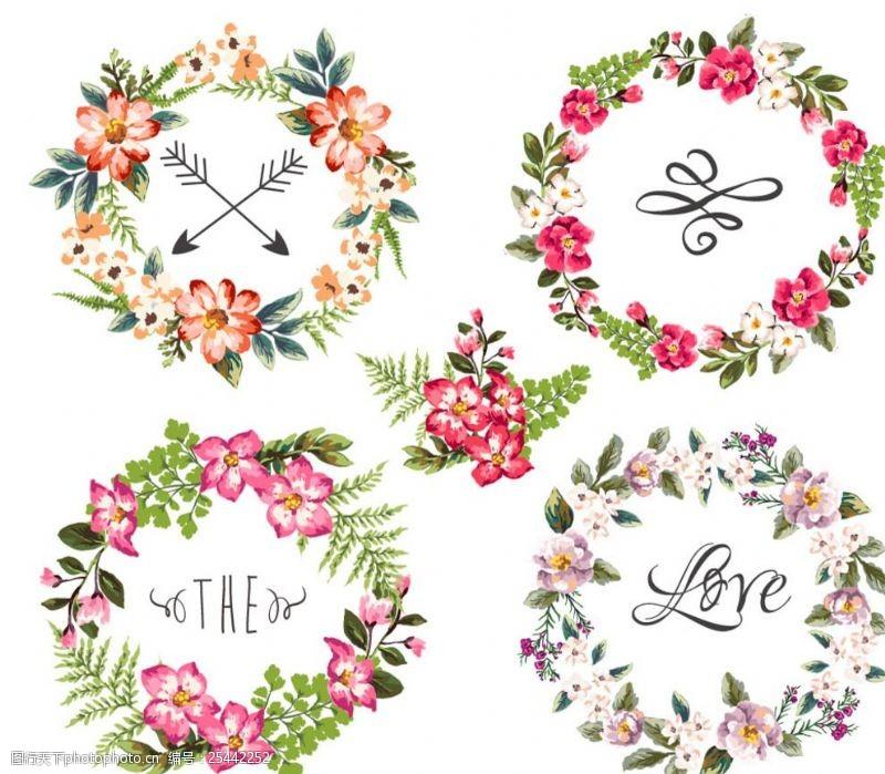 结婚请柬元素圆环美丽花朵