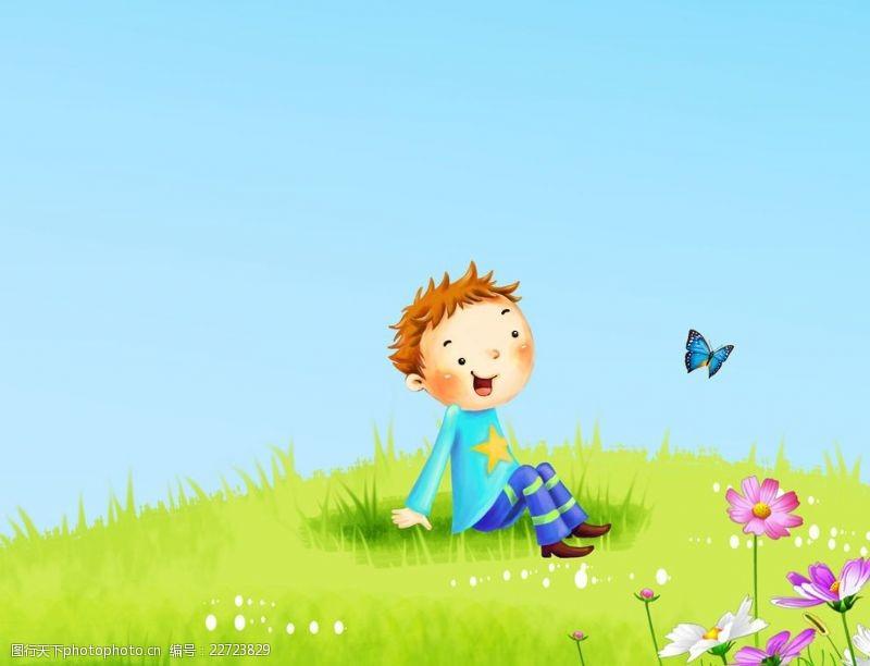 草地蓝天花朵小男孩