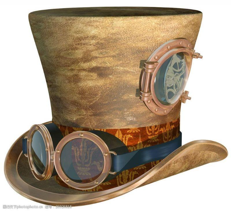 蒸气朋克帽子上的眼镜图片