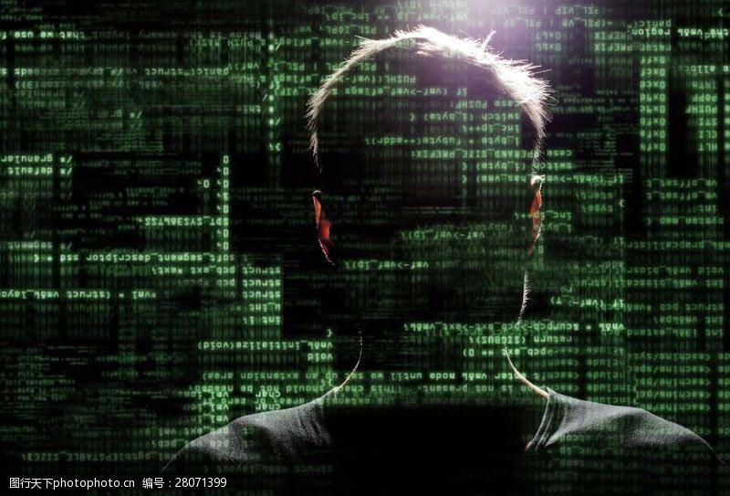 科技通讯网络人站在绿色数字图片