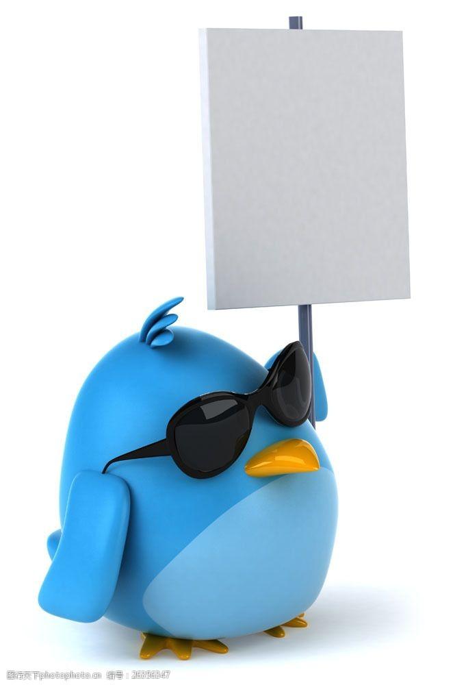 墨镜广告戴墨镜的卡通小鸟与广告牌图片