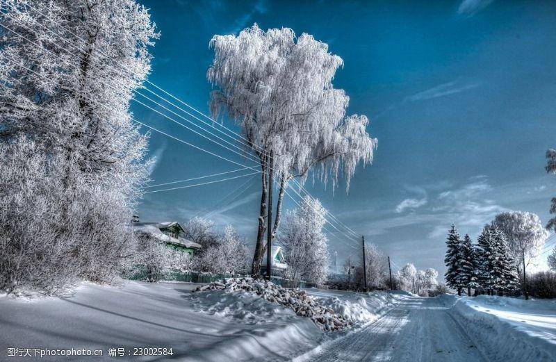 车印冬雪景观