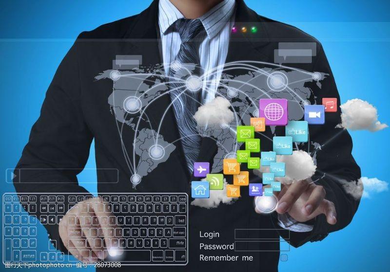 科技通讯网络键盘与图标图片