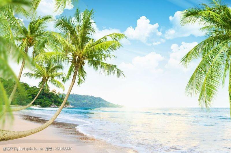 蓝天白云大海图片沙滩椰树与海浪图片