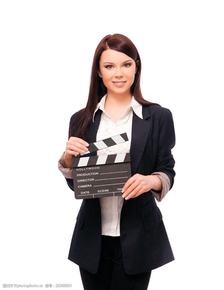 拍电影拿着场记板的美女导演图片