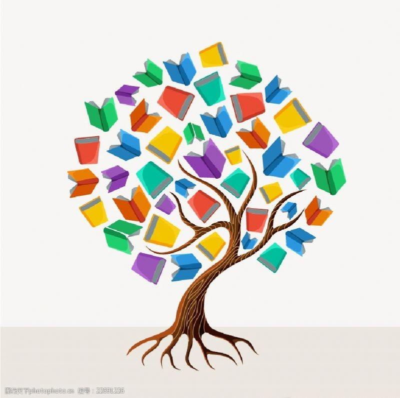 快乐学习教育卡通树