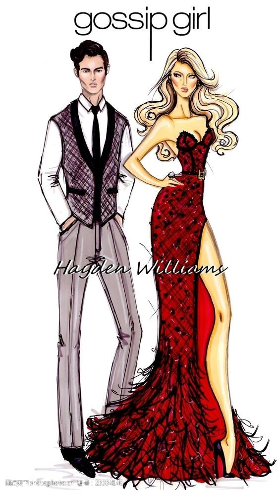 结婚婚纱礼服时装画