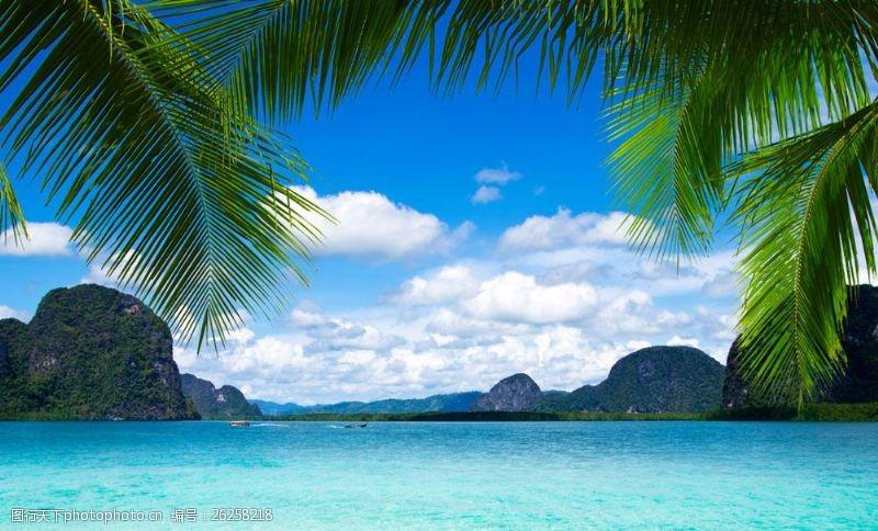 蓝天白云大海图片椰树大海风景图片