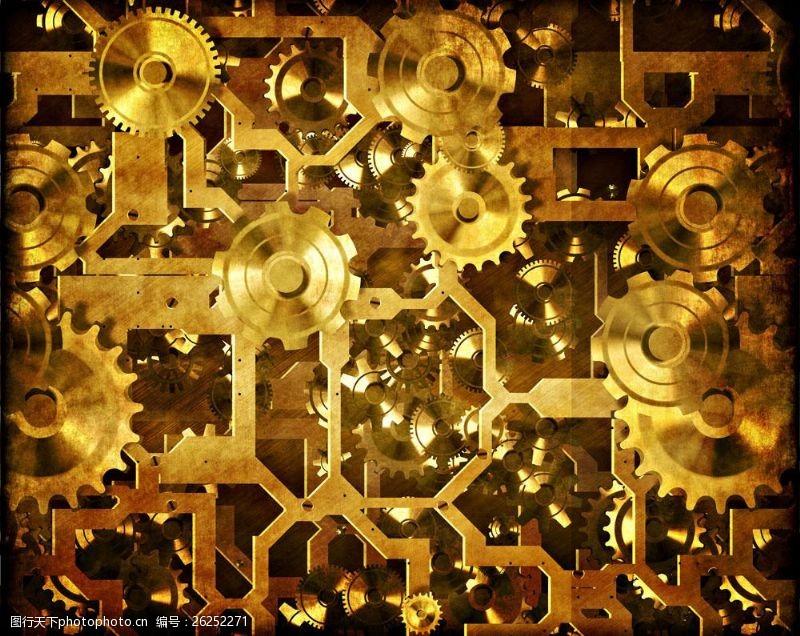 蒸气朋克金色齿轮机械图片