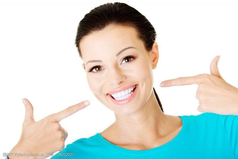 人体器官图展示洁白牙齿的美女图片