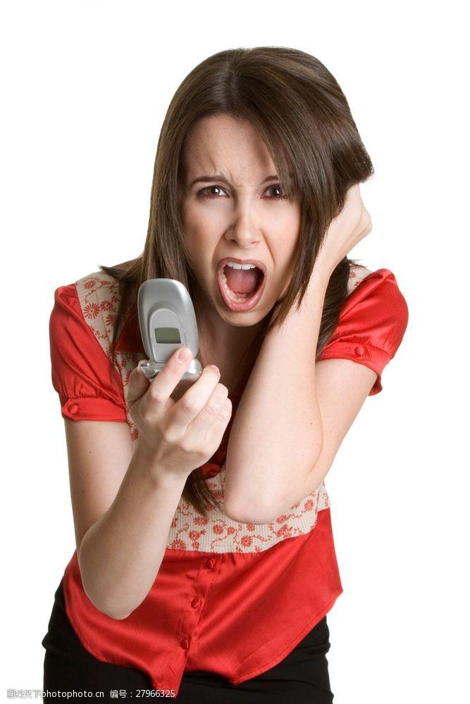 人物高清图片拿手机惊恐的女人图片