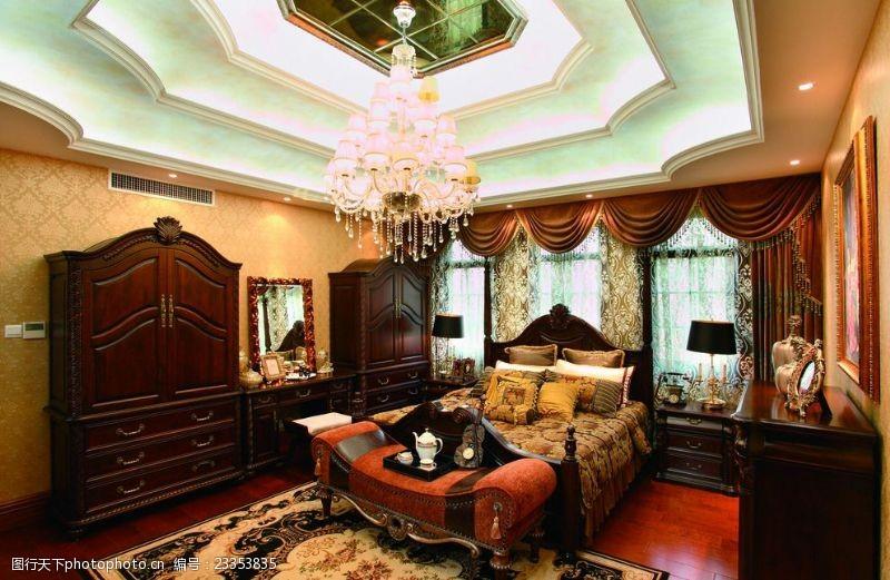 法式风格效果图法式风格室内设计卧室实景图