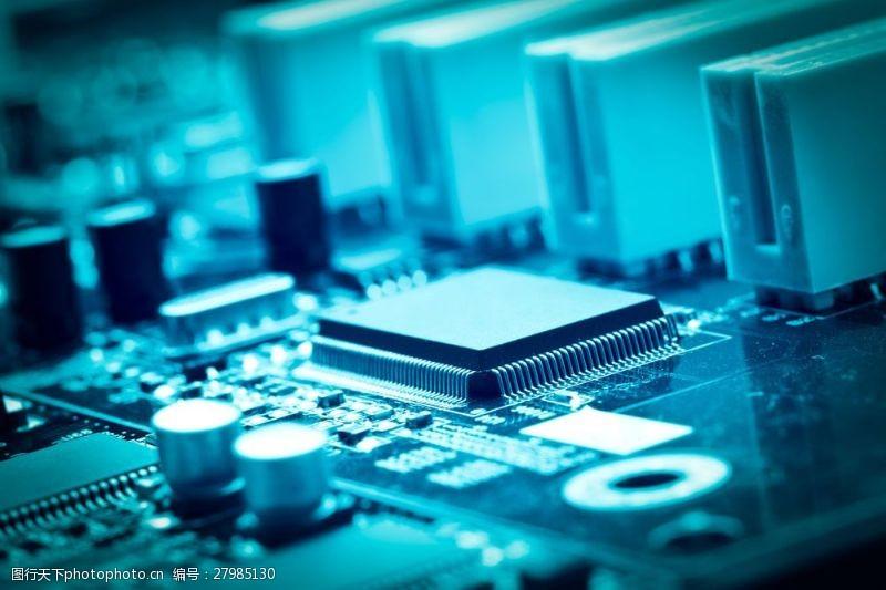 中央处理器芯片摄影图片