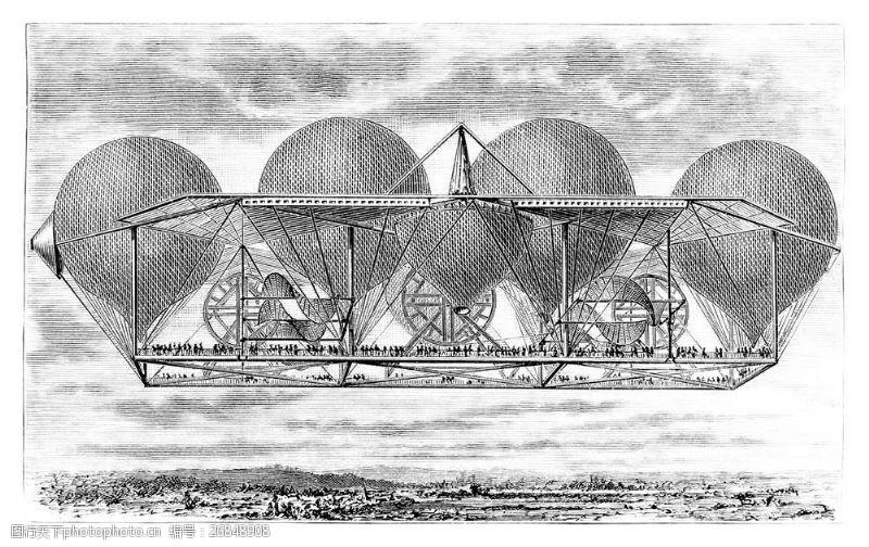蒸气朋克古代飞机插画图片