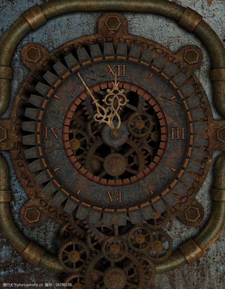 蒸气朋克机械齿轮钟表图片