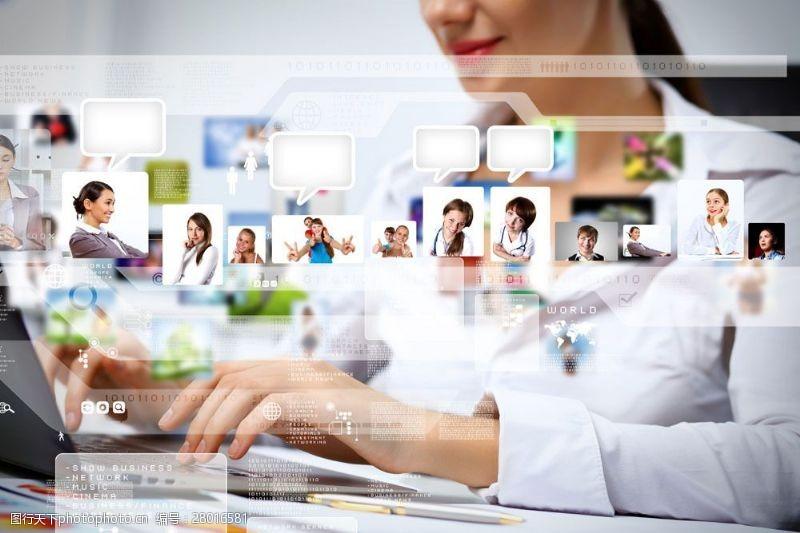 互联网商务美女与屏幕图片
