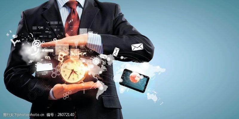 科技通讯网络商务男士与闹钟图片