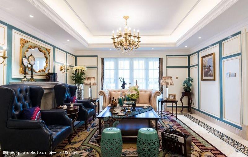 法式风格效果图法式风格客厅装饰实景图