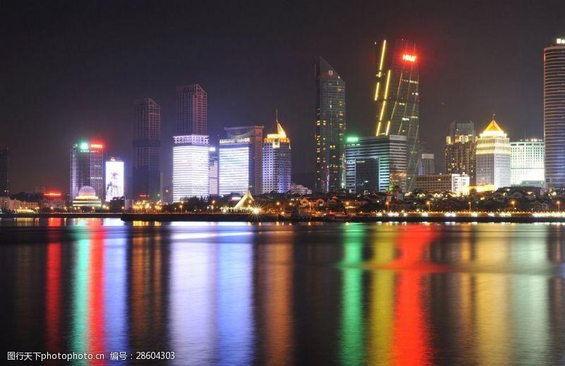 城市流光青岛夜色