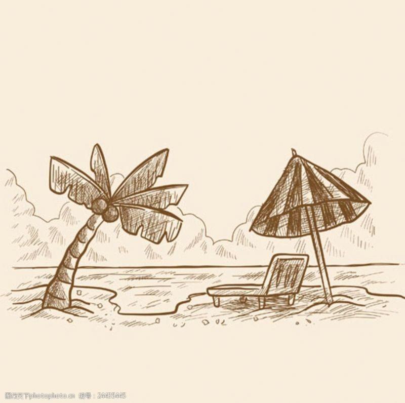 夏季风情矢量素材手绘素描棕榈树海滩