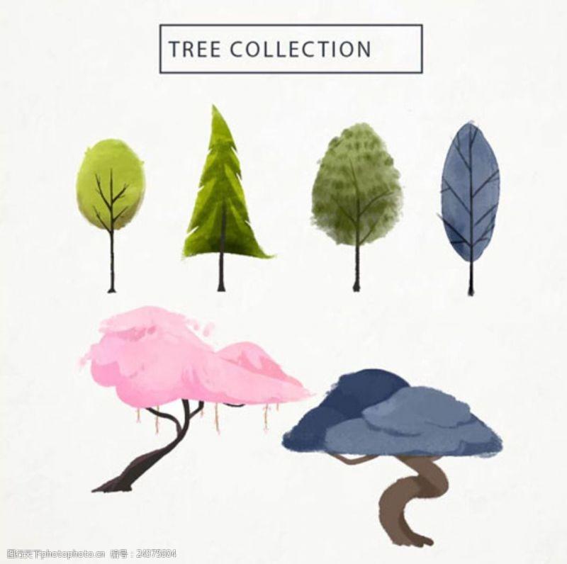 多彩的树木六款水彩多彩春季树木