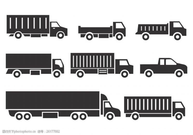 手绘货车扁平化货车图标