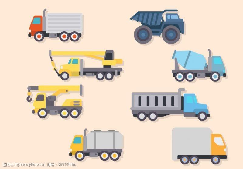 手绘货车扁平化卡车图标