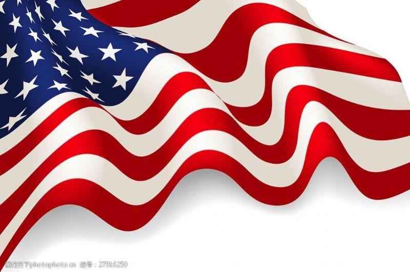 写实风格波状美国国旗矢量素材