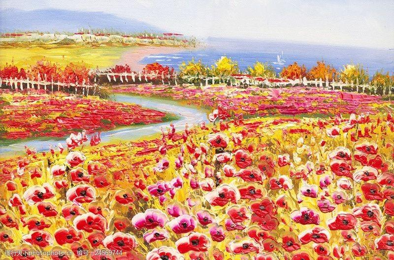 大幅背景地中海风景花田油画装饰画