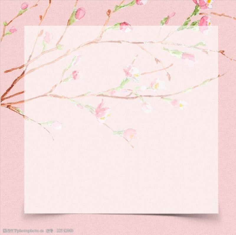 三月桃花开电商粉色春季桃花主图直通车背景