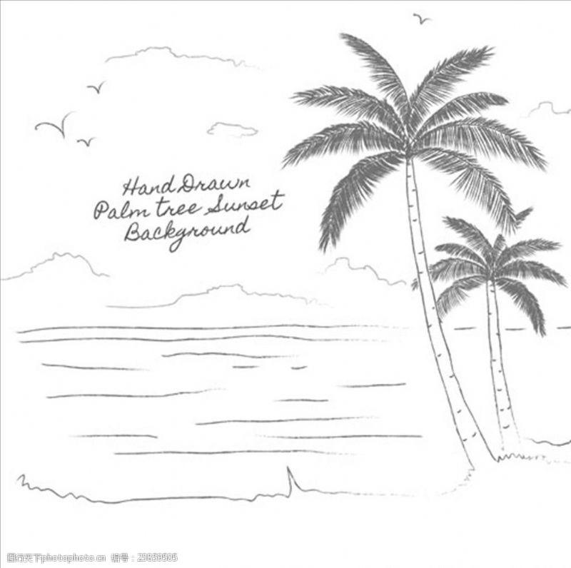 夏季风情矢量素材手绘素描棕榈树背景