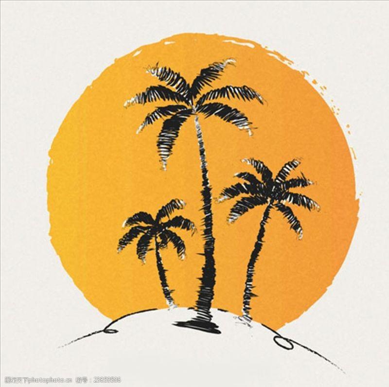 夏季风情矢量素材手绘太阳背景棕榈树
