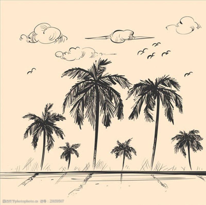 夏季风情矢量素材素描海滩棕榈树背景