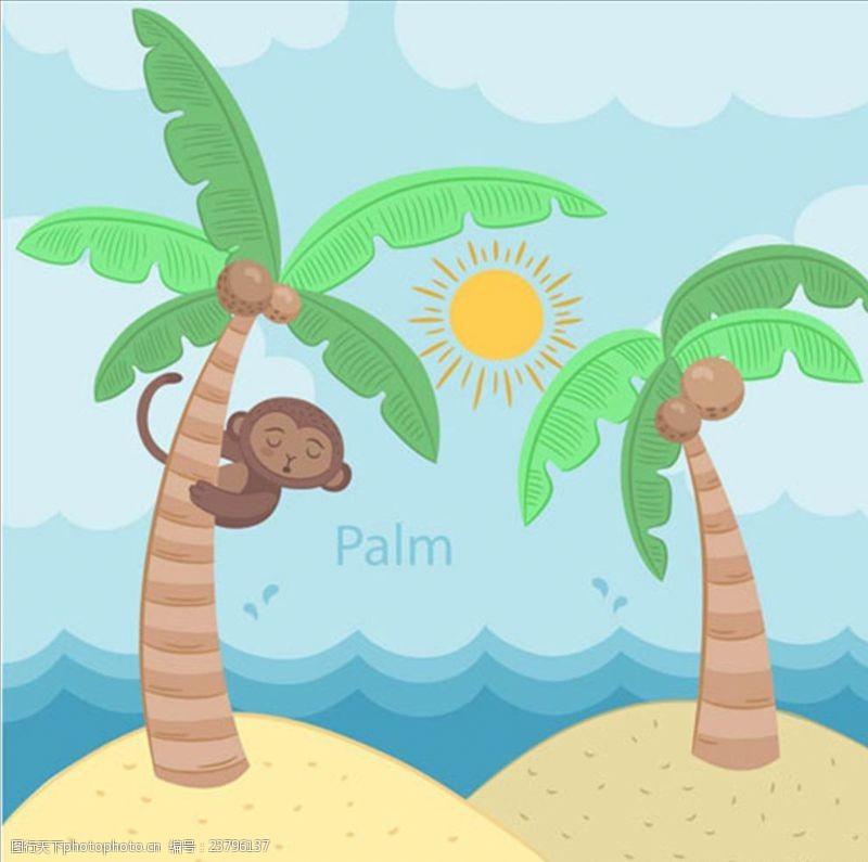 夏季风情矢量素材卡通棕榈树和猴子插图