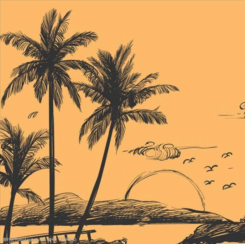 夏季风情矢量素材手绘素描海岛棕榈树风景