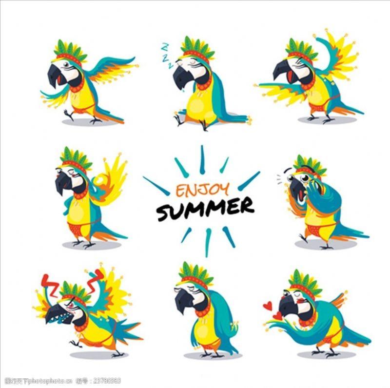 夏季风情矢量素材卡通夏季鹦鹉插图