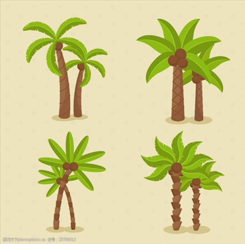 夏季风情矢量素材四款卡通美丽的棕榈树