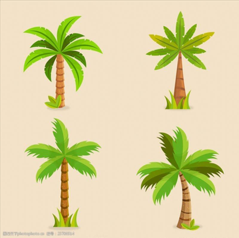 夏季风情矢量素材四款美丽的棕榈树