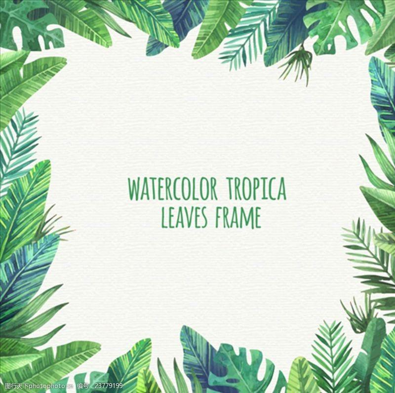 夏季风情矢量素材手绘水彩热带叶子框架