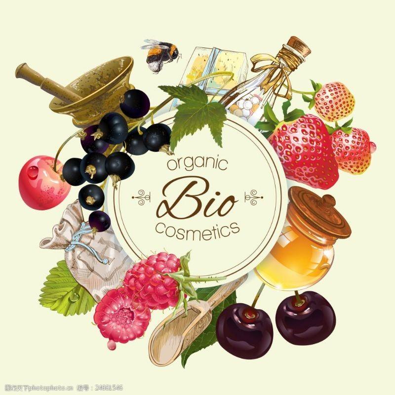 蜂蜜和水果背景