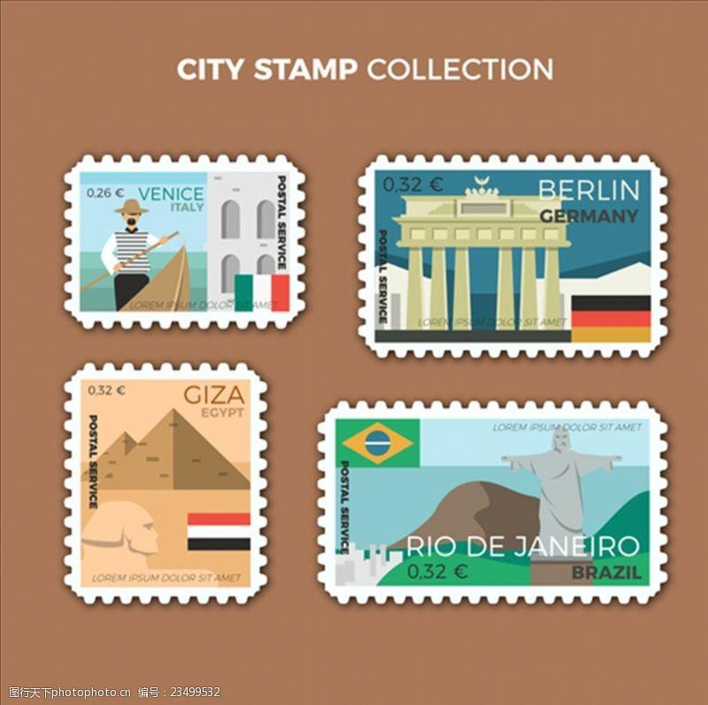 手绘邮票彩色的城市集邮
