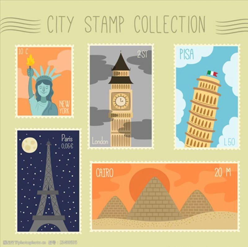 手绘邮票大量的城市邮票