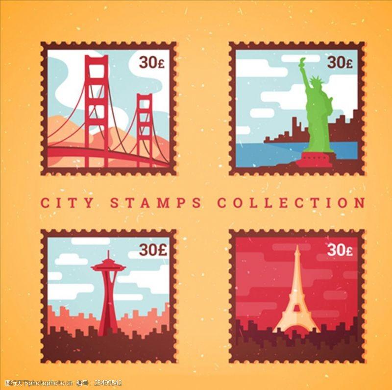 手绘邮票四种不同城市的彩色邮票