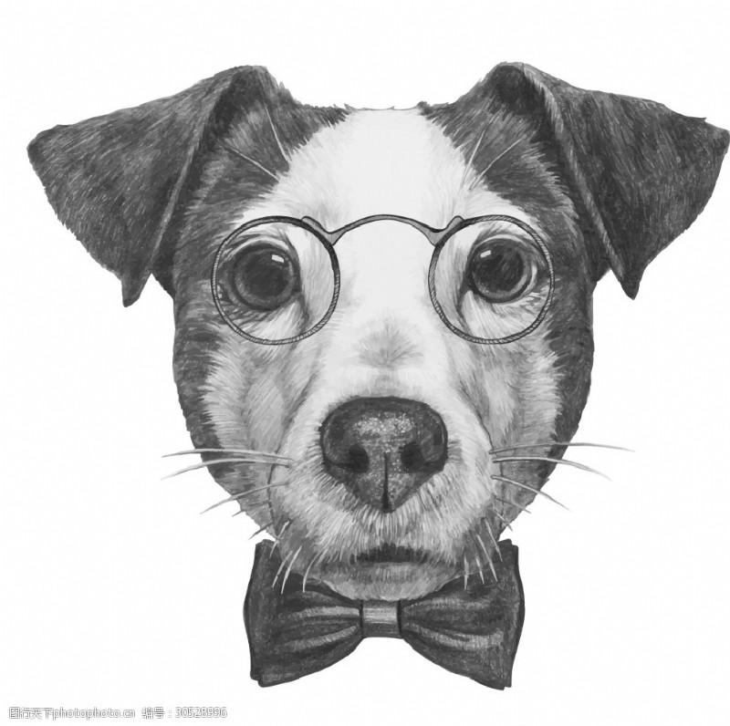 眼镜狗素描矢量图下载素描狗图案下载