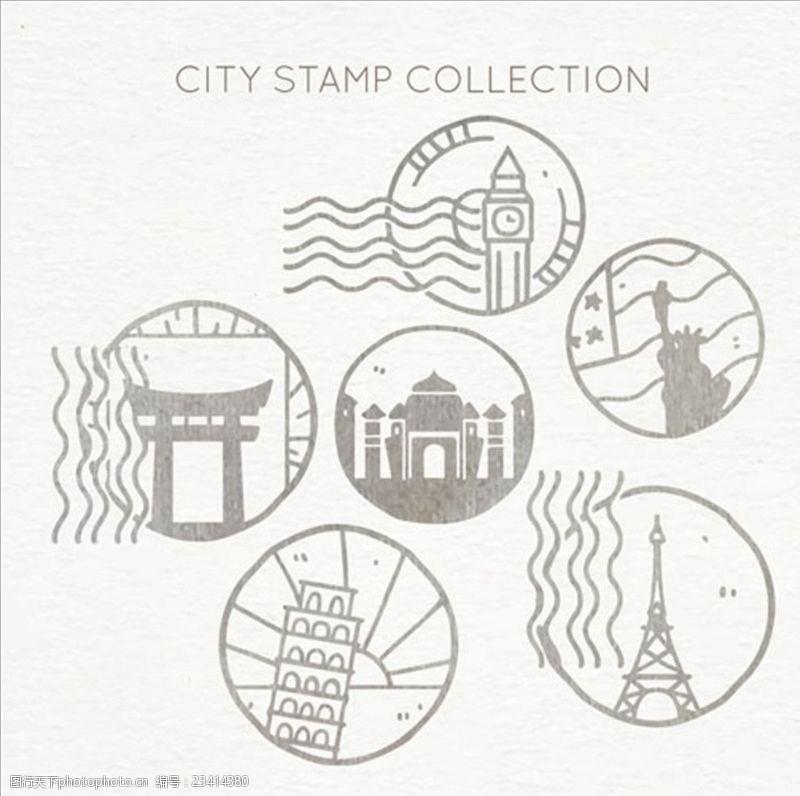 手绘邮票手绘的圆形城市邮戳